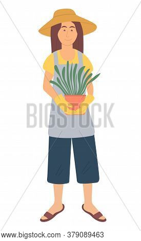 Female Character Holding Plant In Pot, Gardening Hobby. Portrait View Of Woman Wearing Hat, Apron An