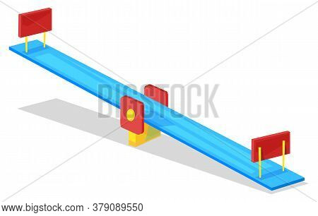 Kindergarten Or Playground, Seesaw Isolated Object Vector. Childish Swing, Summer Outdoor Activity,