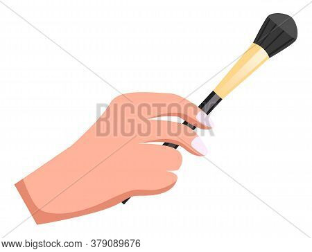 Female Hand Holding Makeup Brush. Brush For Powder Or Eyeshadows. Cosmetic Tool Or Instrument For Vi
