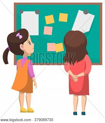 Education Vector, Kids Looking On Board With Papers And Pages. Blackboard With Memos And Notes. Girl