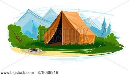 Tourist Tent In The Meadow. Extinct Fire, Outdoor Recreation. The Mountains. Flat Style. Vector Illu