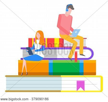 Online Library, Students Reading Through Tablet, Knowledge And Books Pile With Bookmarks Vector. Lit