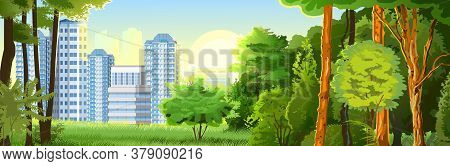 Suburban Horizontal Landscape. Vector. Forest In The Vicinity Of The City. Skyline, Sun. Scenery Wit