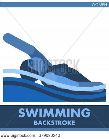 Backstroke Sport Woman. Female Contest. Vector. Icon, Pictogram. Summer International Sports. The Gi