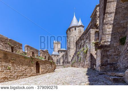 Observation Towers And Fortified Walls Of Medieval Castle Of Carcassonne Town