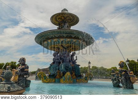Fountain On Place De La Concorde Paris France