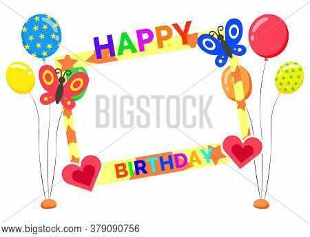 Happy Birthday Vector, Isolated Photozone Accessory Made Of Letters And Congratulations. Inflatable