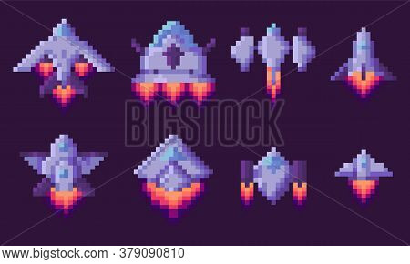 Pixel Game Vector, Isolated Set Of Spaceship Run Of Fuel, Outer Space Exploration, Video Gaming In R