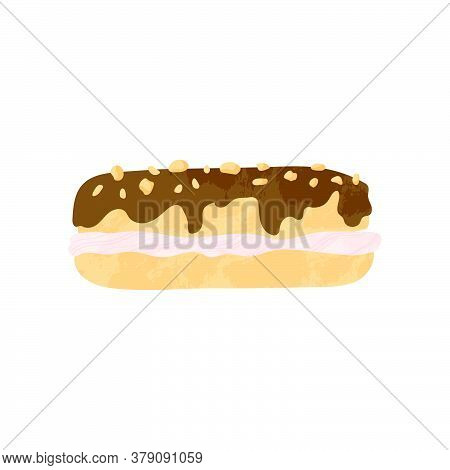 Chocolate Eclair With Chocolate And Caramel. Tasty Dessert Vector Illustration In Flat Cartoons Desi