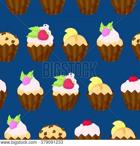 Various Cupcake And Muffin Vector Seamless Pattern In Flat Cartoons Style. Happy Birthday Cupcake Wi