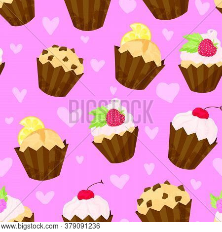 Various Cupcake And Muffin Vector Seamless Pattern In Flat Cartoons Style. Happy Birthday Cupcake Ba