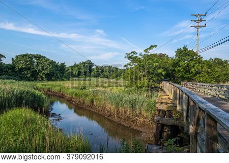 A Wooden Footbridge Along The Henry Hudson Trail In Monmouth County New Jersey.