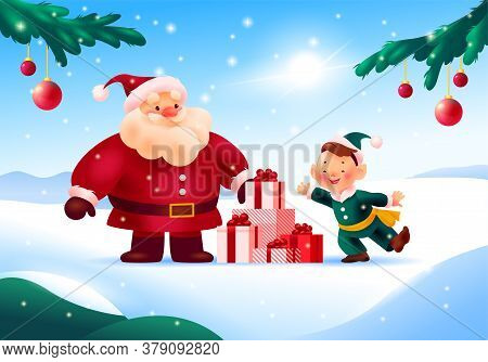 Beautiful Merry Christmas And Happy New Year Card: Funny Santa Claus And Santa Elf With Pile Of Holi