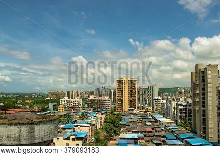 Abstract Background Of Panoramic View Of Mumbai Suburban City Skyline With Beautiful Nature & Clear