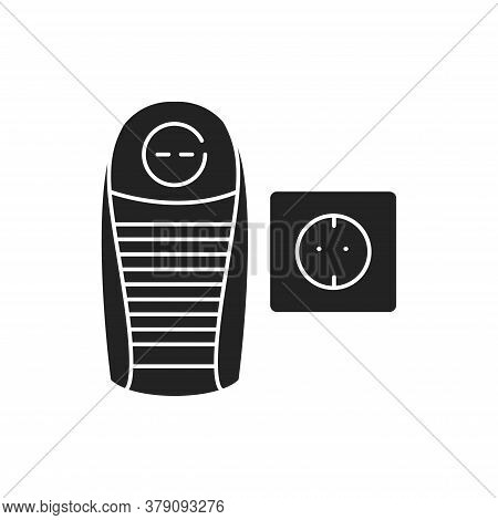 Portable Heater Black Glyph Icon. Small Heating Device. Can Be Used Anywhere Near A Socket. Warms Pe