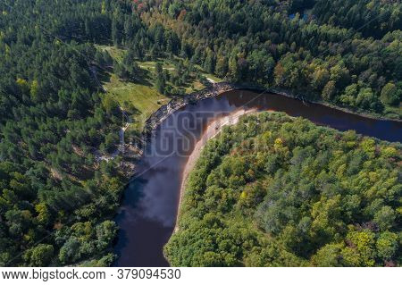 Bend Of The Mezha River From A Bird's-eye View On A Sunny September Day (aerial Photography). Kostro
