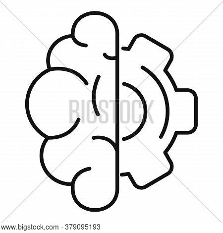 Brain Gear Innovation Icon. Outline Brain Gear Innovation Vector Icon For Web Design Isolated On Whi