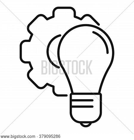 Gear Bulb Innovation Icon. Outline Gear Bulb Innovation Vector Icon For Web Design Isolated On White