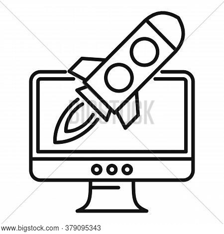 Rocket Startup Innovation Icon. Outline Rocket Startup Innovation Vector Icon For Web Design Isolate