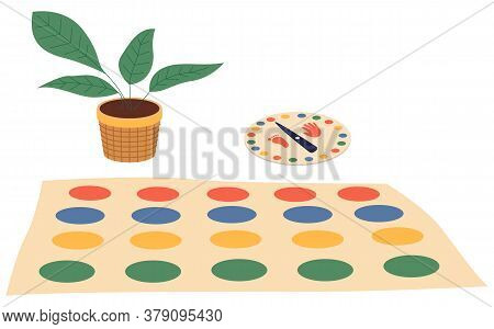 Twister Game. Indoor Game At Floor. Carpet With Colorful Circles, Color Spinner For Game, Green Plan
