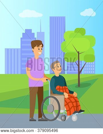Volunteer Helping Granny In Wheelchair Unable To Walk, In Green Park With Trees. Vector Cartoon Pers