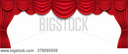 Luxury Red Silk Curtain And Draperie Interior On White Background
