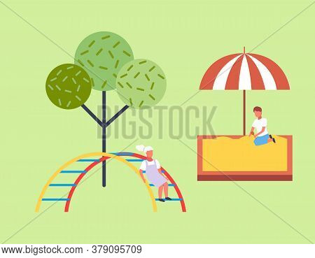 Children Spending Time At Playground. Kids Have Fun, Recreation Outdoors At Summer. Boy Playing With