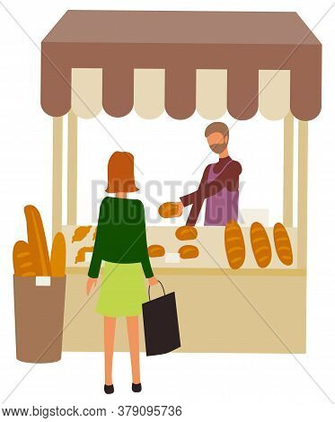 Bakery Shop, Marketplace With Baked Bread And Buns, Tent At Market With Seller And Shopper. Vector B
