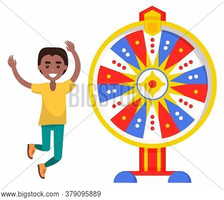 Boy Winner Jumping And Fortune Wheel, Risk And Luck Vector. Casino And Opportunity, Prize And Award,