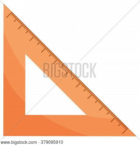 School Stationery Supply, Triangular Ruler Or Measuring Tool Isolated Object Vector. Geometry And Dr