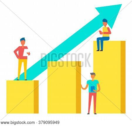 Person And Growth Of Rates, Achievement Of Best Results, Work At Tablets. Vector Brokers And Growing