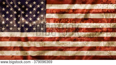 Old Ruined Vintage National Flag Of United States Of America. Stained Old Fashioned American Flag, I