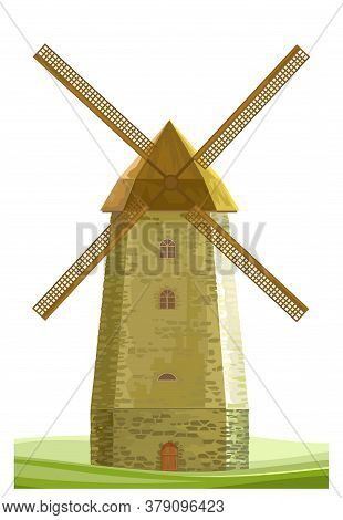 Windmill Isolated Vector On White Background. Wind Mill Flour Farm. Old Stone Dutch Typical Traditio