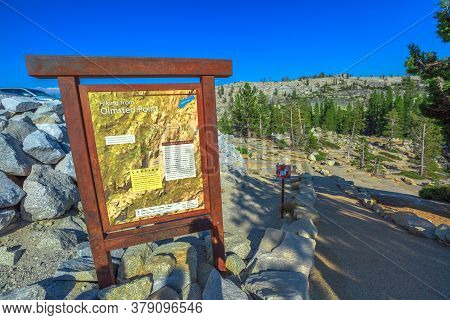 Yosemite National Park, California, United States - August 10, 2019: Map Signboard Of Olmsted Point