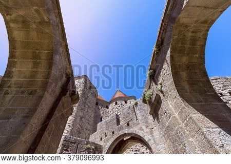 Fortified Walls And Ceilings Of A Medieval Castle Of Carcassonne