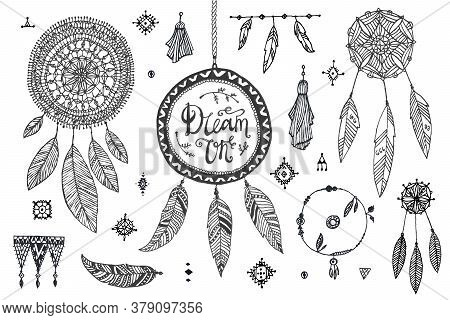 Vector Boho Decor Set, Collection Of Hand Drawn Doodle Borders, Dream Catchers, Dividers, Design Ele
