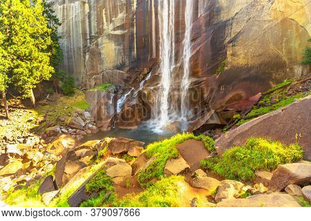 Hiking In Yosemite National Park At Vernal Fall Waterfall On Merced River From Mist Trail. Summer Tr
