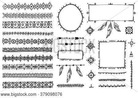 Vector Floral Decor Set, Collection Of Hand Drawn Doodle Boho Style Dividers, Borders, Arrows Design