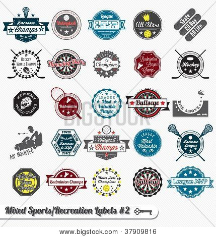 Vector Set: Mixed Sports Labels and Icons