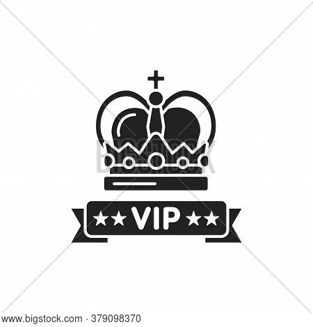 Vip Crown Glyph Black Icon. Premium Membership. Greeting, Party, Festival, Event. Sign For Web Page,