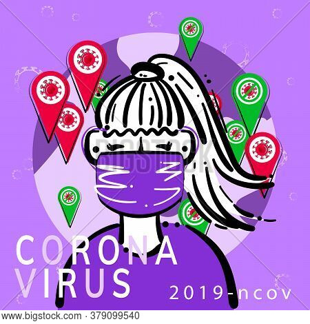 Girl In Flu Mask Reads News On The Background Earth Map And Geo Position Icon Covid-19 Virus Molecul