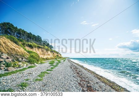 Seashore With A Pebble Beach Beneath A Cliff With Pine Trees Across The Blue Ocean In The Summer