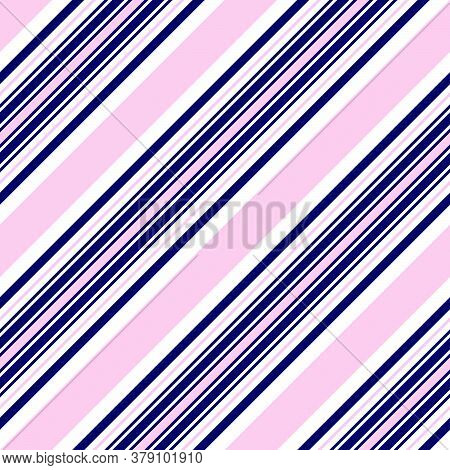 Pink And Navy Stripe Seamless Pattern Background In Diagonal Style