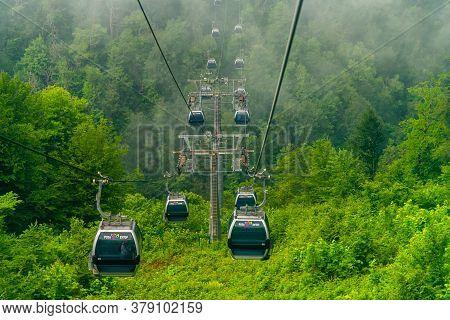 Rosa Khutor, Russia - June 1. 2018. The Cable Car In Ski Resort In Summer In Estosadok
