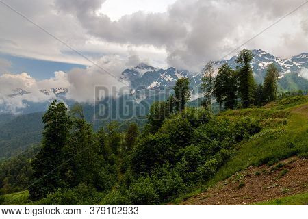 The Summer Landscape In The Caucasus Mountains. Russia