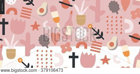 Summer Primitive Seamless Pattern With Traditional Seasonal Elements - Flowers, Avocado, Ice Cream,