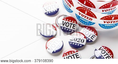 Vote Election Badge Pins For 2020 On White Background, Panorama, Copy Space