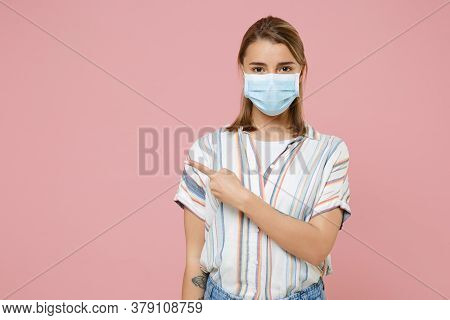 Young Blonde Woman Girl In Casual Striped Shirt Sterile Face Mask Isolated On Pink Background. Epide