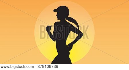 Morning Jog - Abstract Background - Vector. Banner Horizontal. Business Card. Sport Club