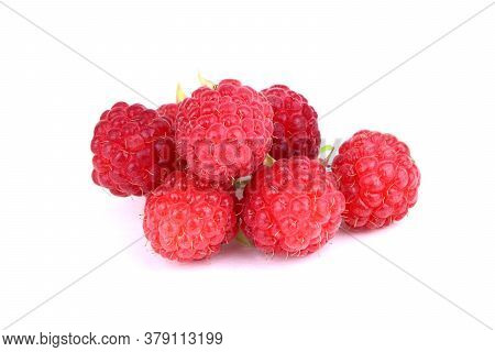 Ripe Red Raspberry Isolated On A White Background. Healthy Organic Food. Harvest.